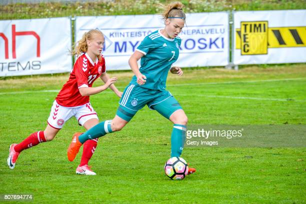Laura Haas Germany challenges Sofie Bredgaard of Denmark during the Nordic Cup 2017 match between U16 Girl's Germany and U16 Girl's Norway on July 4...