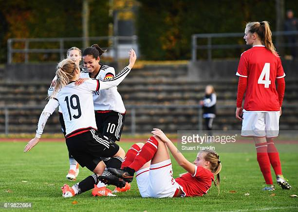 Laura Haas of Germany celebrates scoring her goal during the International Friendly match between U16 Girl's Germany and U16 Girl's Denmark on...