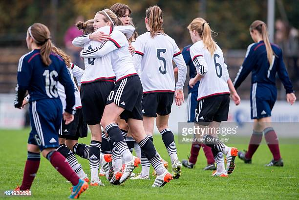Laura Haas of Germany celebrates the third goal for her team with Anna Aehling of Germany during the international friendly match between U15 Girl's...