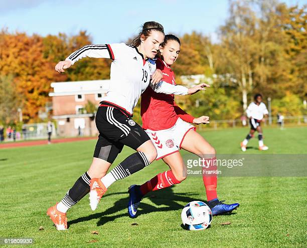 Laura Haas of Germany is challenged by Selma Svendsen of Denmark during the International Friendly match between U16 Girl's Germany and U16 Girl's...