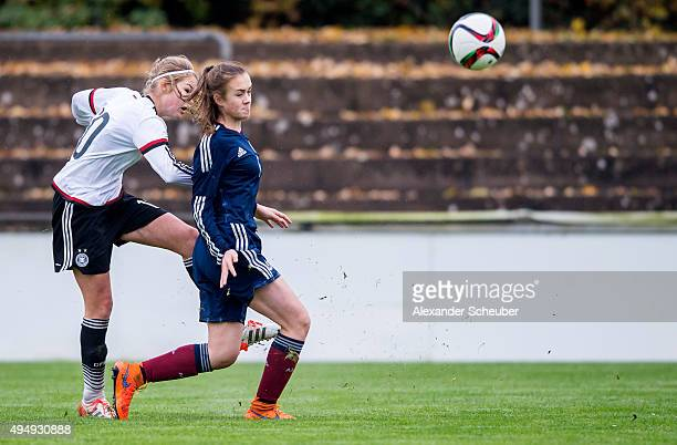 Laura Haas of Germany scores the first goal for her team during the international friendly match between U15 Girl's Germany and U15 Girl's Scotland...