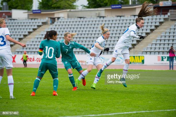 Laura Haas of Germany scores their third goal during the Nordic Cup 2017 match between U16 Girl's Germany and U16 Girl's Iceland on July 6 2017 in...