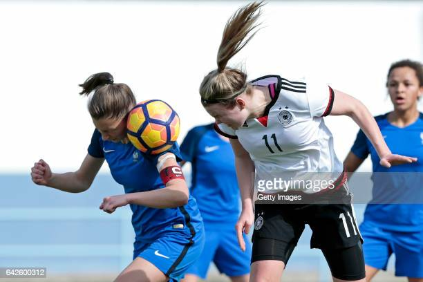 Laura Haas of Germany U16 Girls challenges Clara Moreira of France U16 Girls during the match between U16 Girls Germanyl v U16 Girls France on the...
