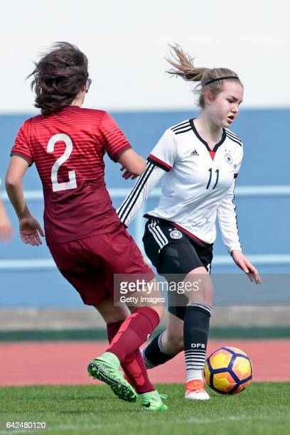 Laura Haas of Germany U16 Girls challenges Francisca Silva of Portugal U16 Girls during the match between U16 Girls Portugal v U16 Girls Germany on...