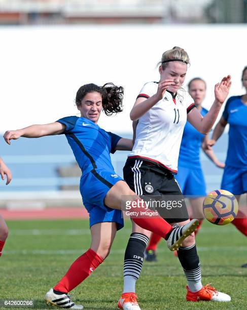 Laura Haas of Germany U16 Girls challenges Manon Revelli of France U16 Girls during the match between U16 Girls Germanyl v U16 Girls France on the...