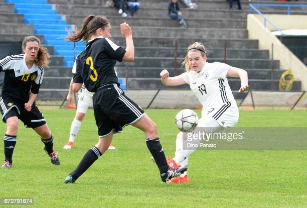 laura Haas of Germany Women's U16 competes with Romy Camps of Belgium Women's U16 during the 2nd Female Tournament 'Delle Nazioni' match between...