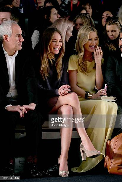 Laura Haddock and Laura Whitmore attend the Maria Grachvogel show during London Fashion Week Fall/Winter 2013/14 at Somerset House on February 19...