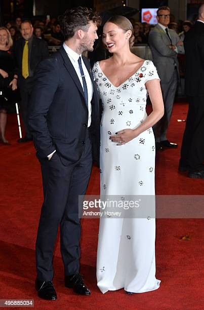 Laura Haddock and Sam Claflin attend The Hunger Games Mockingjay Part 2 UK Premiere at Odeon Leicester Square on November 5 2015 in London England