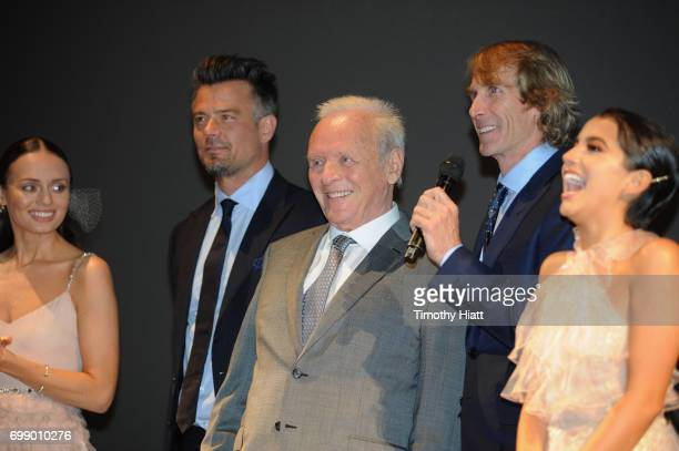 Laura Haddock Josh Duhamel Sir Anthony Hopkins Michael Bay and Isabela Moner speak onstage at the US premiere of 'Transformers The Last Knight' at...
