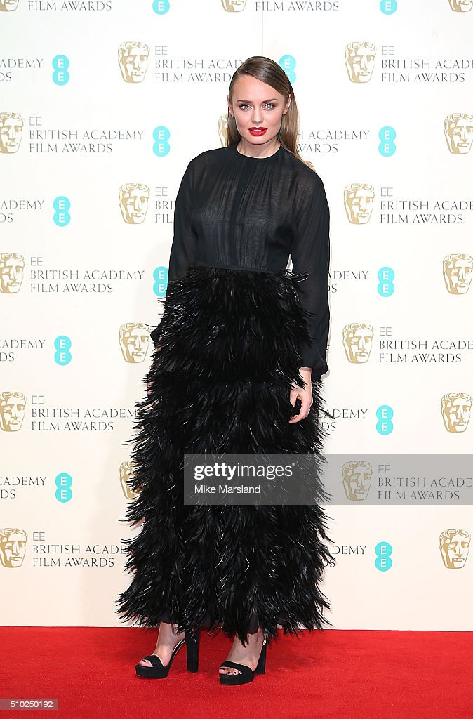 Laura Haddock poses in the winners room at the EE British Academy Film Awards at The Royal Opera House on February 14, 2016 in London, England.