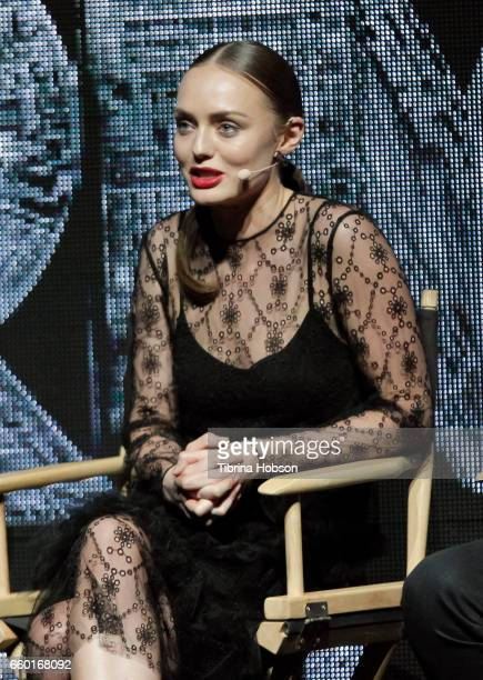 Laura Haddock speaks at Paramount Pictures' presentation highlighting its 2017 summer and beyond during CinemaCon at The Colosseum at Caesars Palace...