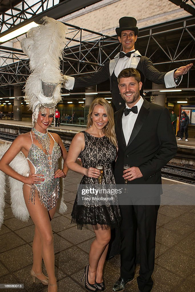Laura Hamilton and partner attends as The northern Belle makes a fundraising trip in aid of the 'When You Wish Upon a Star' charity on April 13, 2013 in Manchester, England.