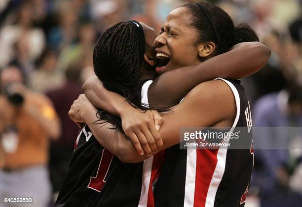 Laura Harper and Crystal Langhorne of the University of Maryland celebrate their victory over Duke University during the Division I Women's...