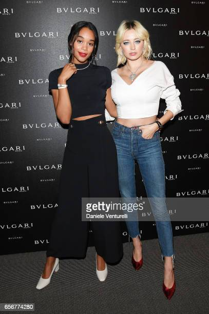 Laura Harrier and Caroline Vreeland attend Bvlgari press Breakfast At Baselworld 2017 on March 23 2017 in Basel Switzerland