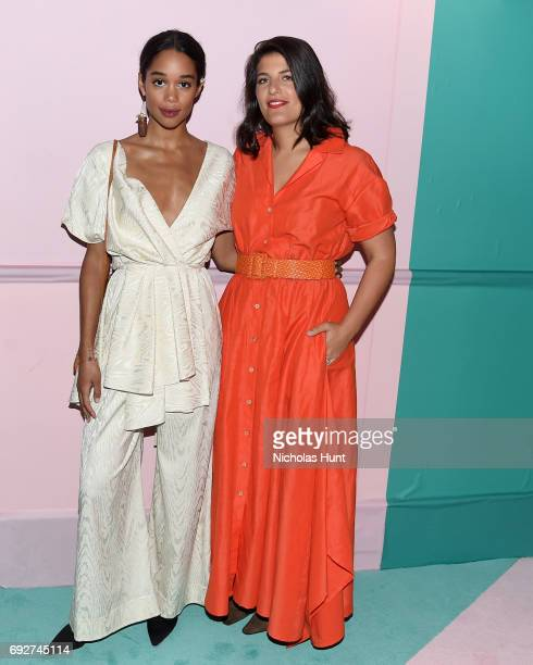 Laura Harrier and fashion designer Rosie Assoulin attend the 2017 CFDA Fashion Awards at Hammerstein Ballroom on June 5 2017 in New York City
