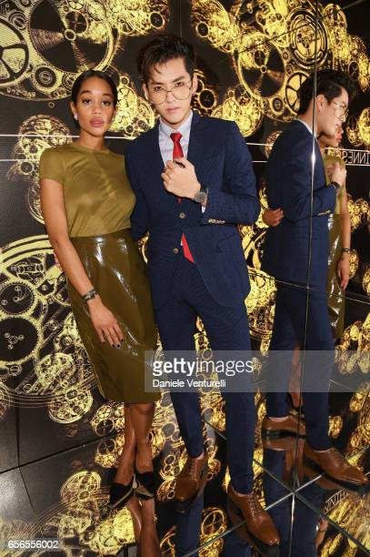 Laura Harrier and Kris Wu attend Bvlgari Cocktail At Baselworld 2017 on March 22 2017 in Basel Switzerland
