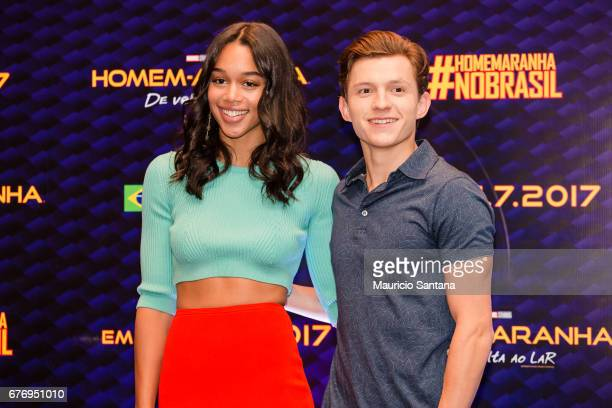 Laura Harrier and Tom Holland pose during a press conference at Grand Hyatt on May 2 2017 in Sao Paulo Brazil