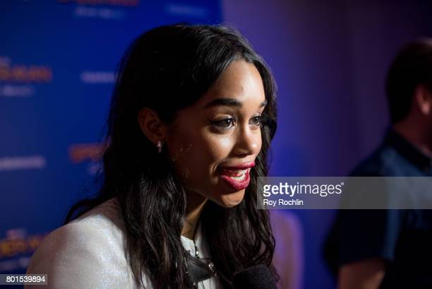 Laura Harrier attends 'Spiderman Homecoming' New York First Responders' screening at Henry R Luce Auditorium at Brookfield Place on June 26 2017 in...