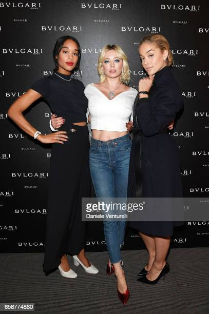 Laura Harrier Caroline Vreeland and Jasmine Sanders attend Bvlgari press Breakfast At Baselworld 2017 on March 23 2017 in Basel Switzerland