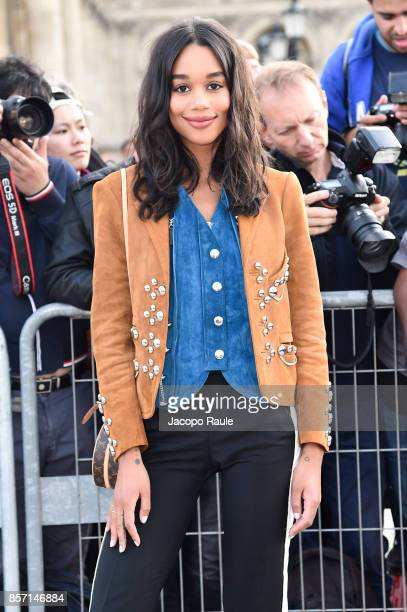 Laura Harrier is seen arriving at Louis Vuitton show during Paris Fashion Week Womenswear Spring/Summer 2018 on October 3 2017 in Paris France