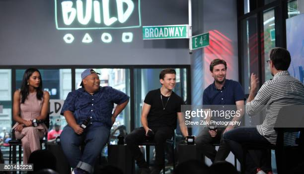Laura Harrier Jacob Batalon Tom Holland and Jon Watts attend Build Series to discuss their new movie 'SpiderMan Homecoming' at Build Studio on June...