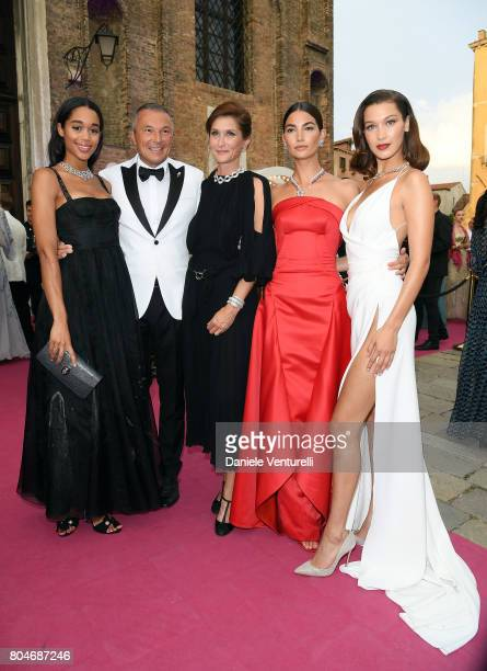 Laura Harrier JeanChristophe Babin Alessandra Lily Aldridge and Bella Hadid attend Bvlgari Party at Scuola Grande della Misericordia on June 30 2017...