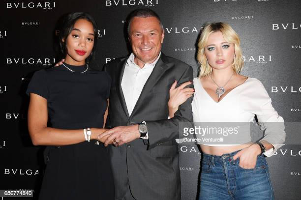 Laura Harrier JeanChristophe Babin and Caroline Vreeland attend Bvlgari press Breakfast At Baselworld 2017 on March 23 2017 in Basel Switzerland