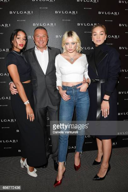 Laura Harrier JeanChristophe Babin Caroline Vreeland and Jasmine Sanders attend Bvlgari press Breakfast At Baselworld 2017 on March 23 2017 in Basel...