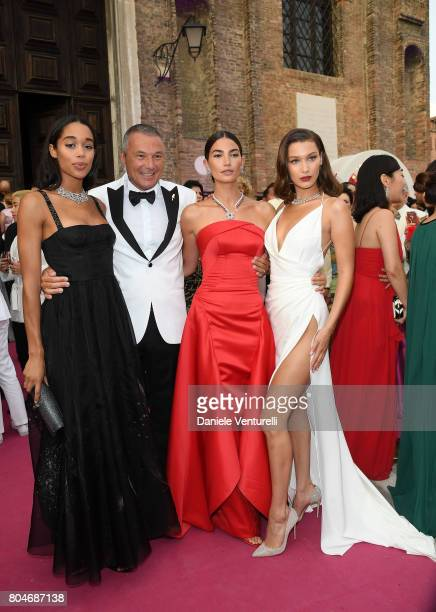 Laura Harrier JeanChristophe Babin Lily Aldridge and Bella Hadid attend Bvlgari Party at Scuola Grande della Misericordia on June 30 2017 in Venice...
