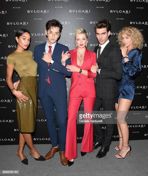 Laura Harrier Kris Wu Caroline Vreeland Jon Kortajarena and Jasmine Sanders attend Bvlgari Cocktail At Baselworld 2017 on March 22 2017 in Basel...