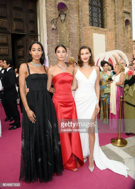 Laura Harrier Lily Aldridge and Bella Hadid attend Bvlgari Party at Scuola Grande della Misericordia on June 30 2017 in Venice Italy