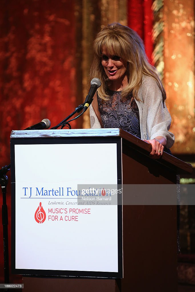 Laura Heatherly, CEO of the T.J. Martell Foundation speaks onstage at T.J. Martell Foundation's Annual World Tour of Wine Dinner at The Angel Orensanz Foundation on November 14, 2013 in New York City.