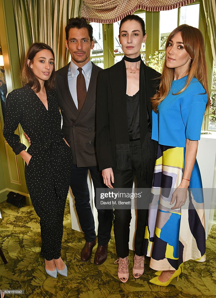 Laura Jackson, David Gandy, Erin O'Connor and Jacqui Ritchie attend the L.K.Bennett x Bionda Castana lunch at Mark's Club on February 9, 2016 in London, England.