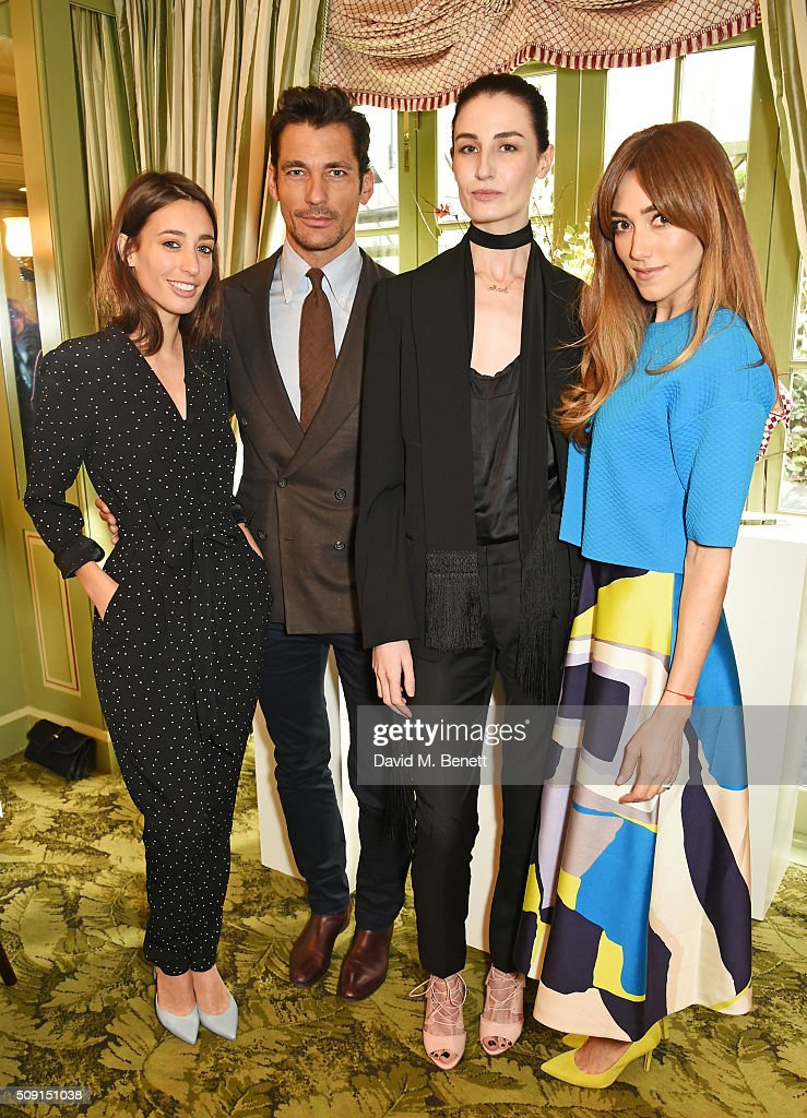 Laura Jackson David Gandy Erin O'Connor and Jacqui Ritchie attend the LKBennett x Bionda Castana lunch at Mark's Club on February 9 2016 in London...