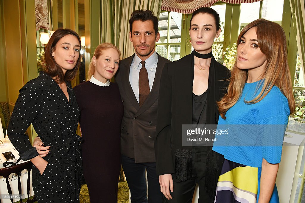 Laura Jackson, Jennifer Portman, designer and founder of Bionda Castana, David Gandy, Erin O'Connor and Jacqui Ritchie attend the L.K.Bennett x Bionda Castana lunch at Mark's Club on February 9, 2016 in London, England.