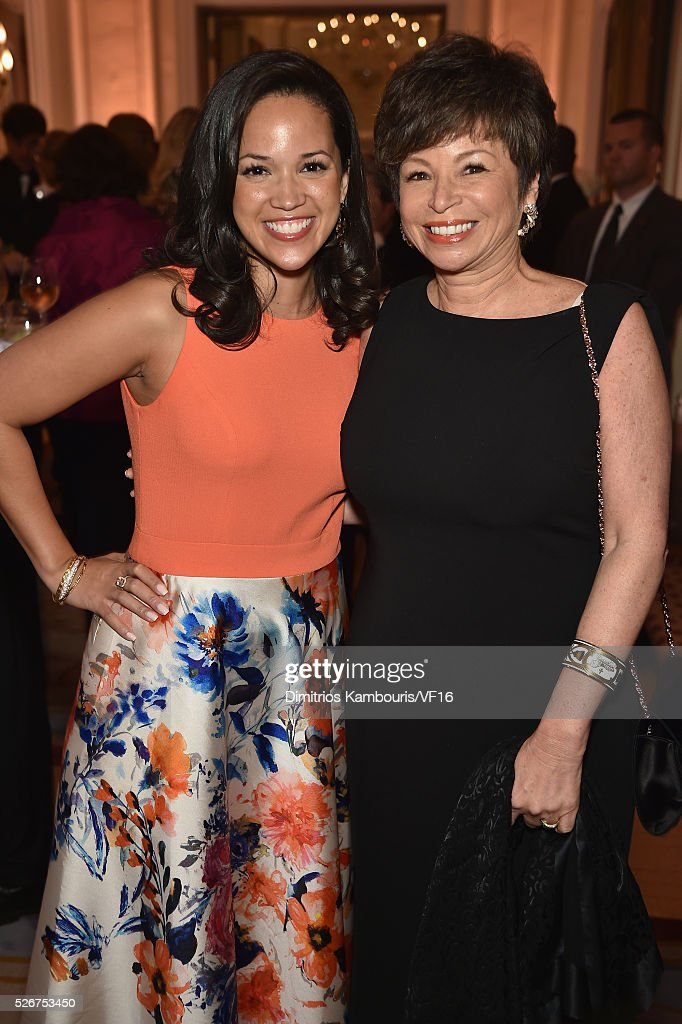 Laura Jarrett and Valerie Jarrett attend the Bloomberg & Vanity Fair cocktail reception following the 2015 WHCA Dinner at the residence of the French Ambassador on April 30, 2016 in Washington, DC.