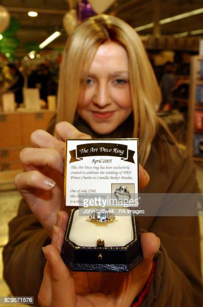 Laura Jones aged 20 from Bermondsey South London holds an engagemnt ring that is a copy of the ring that the Prince of Wales gave to Mrs Camilla...