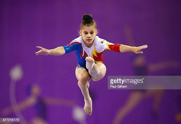 Laura Jurca of Bulgaria competes on the beam in the Women's Team Final and Individual Qualification during day three of the Baku 2015 European Games...
