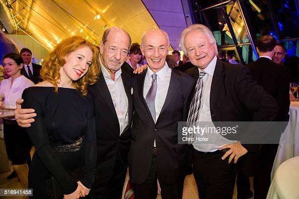 Laura Kaefer Ralph Siegel Gottfried Zmeck and Arno Wiedergut attend Karl Spiehs 85th birthday celebration on March 19 2016 in Vienna Austria