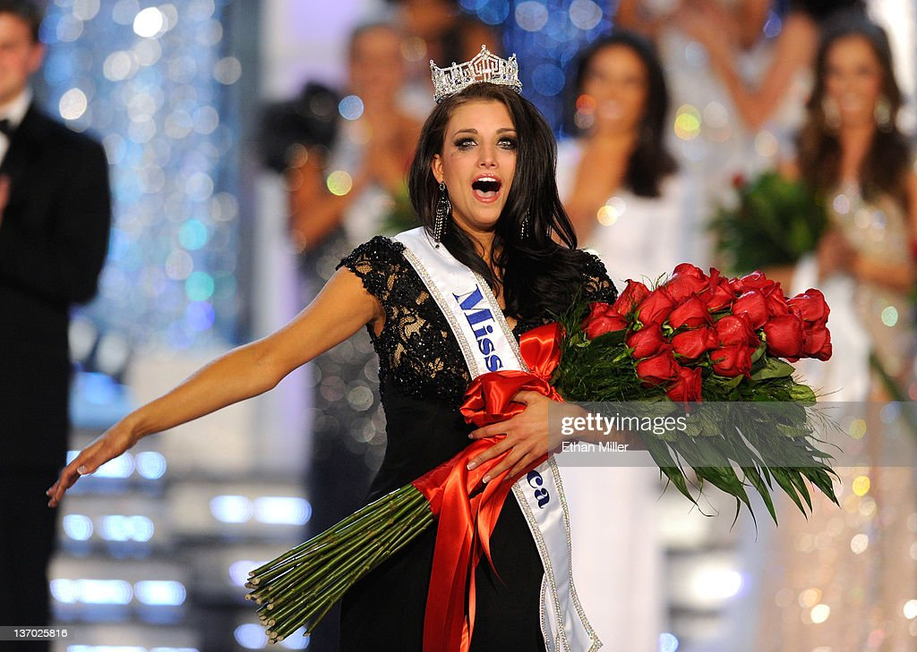 Laura Kaeppeler, Miss Wisconsin, reacts after being crowned Miss America during the 2012 Miss America Pageant at the Planet Hollywood Resort & Casino January 14, 2012 in Las Vegas, Nevada.