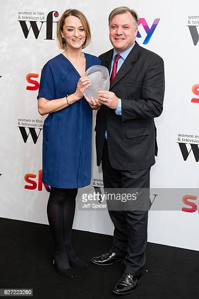 Laura Kuenssberg winner of the News and Factual Award with Ed Balls at the Sky Women In Film TV Awards at London Hilton on December 2 2016 in London...