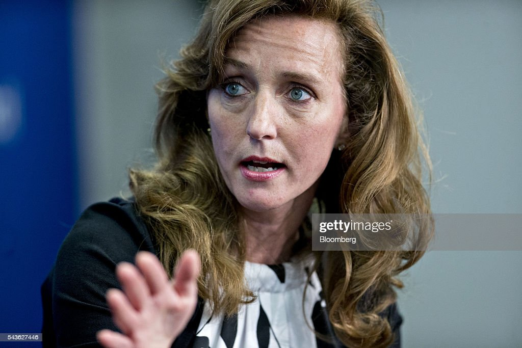 Laura Lane, president of global public affairs at United Parcel Service Inc., speaks during a panel discussion on the Transatlantic Trade and Investment Partnership (TTIP) with Cecilia Malmstrom, European Union (EU) trade commissioner, not pictured, at the Atlantic Council in Washington, D.C., U.S., on Wednesday, June 29, 2016. Malmstroem said this week the EU will pursue its trade talks with the U.S. and other partners even as the U.K. negotiates an exit from the bloc. Photographer: Andrew Harrer/Bloomberg via Getty Images