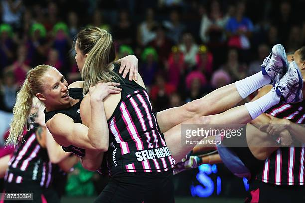 Laura Langman and Te Huinga Reo SelbyRickit of New Zealand dance prior to the final match between New Zealand and Australia on day three of the Fast5...