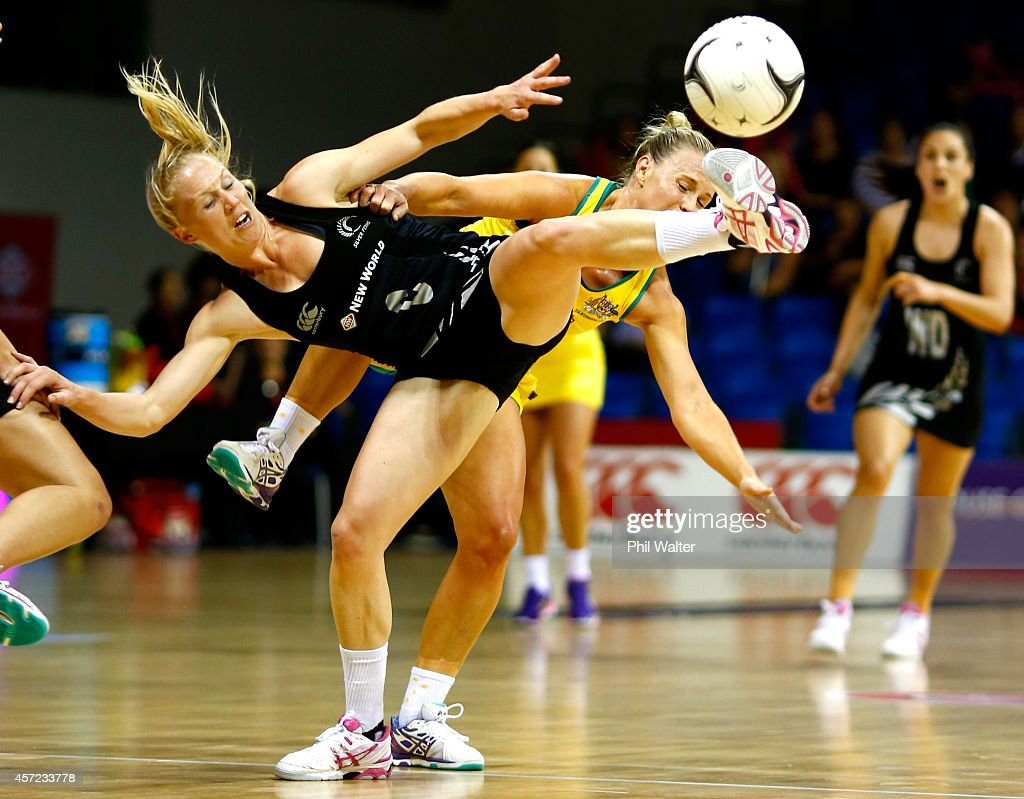 Laura Langman of New Zealand and Kim Green of Australia contest the ball during the International Test match between the New Zealand Silver Ferns and...