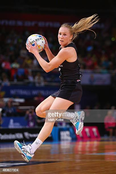 Laura Langman of New Zealand catches the ball during the 2015 Netball World Cup Qualification round match between New Zealand and Jamaica at...