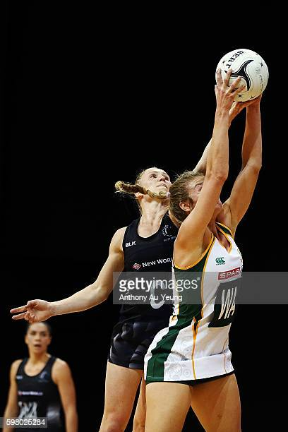 Laura Langman of New Zealand competes against Jeanie Steyn of South Africa during the International Test match between New Zealand Silver Ferns and...