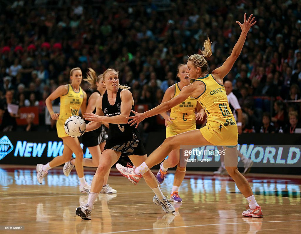 <a gi-track='captionPersonalityLinkClicked' href=/galleries/search?phrase=Laura+Langman&family=editorial&specificpeople=247744 ng-click='$event.stopPropagation()'>Laura Langman</a> of New Zealand controls the ball during the Constellation Cup match between the New Zealand Silver Ferns and the Australian Diamonds at CBS Canterbury Arena on September 23, 2012 in Christchurch, New Zealand.