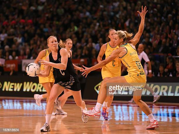 Laura Langman of New Zealand controls the ball in front of Laura Geitz of Australia during the Constellation Cup match between the New Zealand Silver...