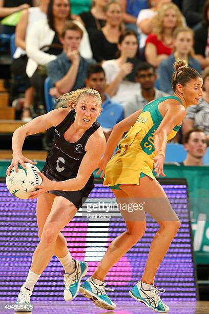 Laura Langman of New Zealand looks to pass the ball during the International Test Match between the Australian Diamonds and the New Zealand Silver...