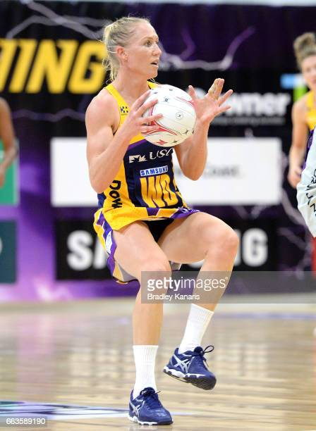 Laura Langman of the Lightning in action during the round seven Super Netball match between the Lightning and the Firebirds at University of the...